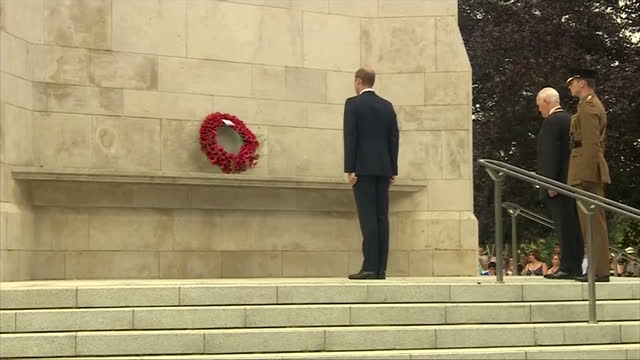 Exterior shots Prince William laying wreath down on the war memorial on July 16 2014 in Coventry England