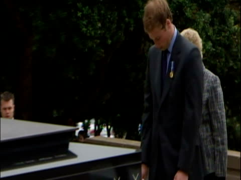 Exterior shots Prince William marking the 60th Anniversary of the Second World War by meeting veterans and laying a wreath at the National War...
