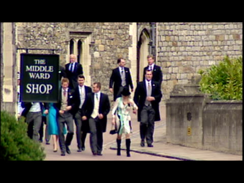Exterior shots Prince William Prince Harry Peter and Zara Phillips Princess Eugenie and Beatrice walk down hill in Windsor Prince Charles Camilla...