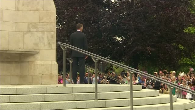 exterior shots prince william walking through the coventry war memorial out the other side on july 16 2014 in coventry england - 戦争記念碑点の映像素材/bロール