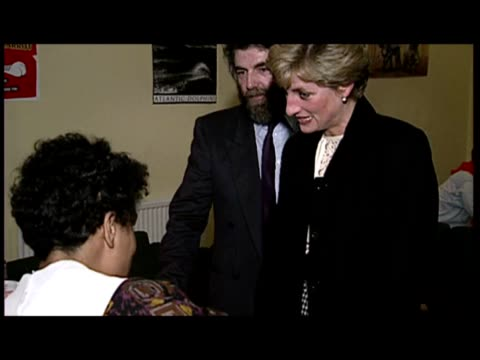 exterior shots princess diana arrives at centrepoint. interior shots princess diana chatting to centrepoint staff then officially opens by cutting... - 1990 stock videos & royalty-free footage