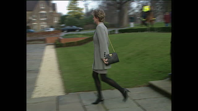 exterior shots princess diana arrives at hyde park police station wearing grey skirt suit in london on 12th january 1995. - grey colour stock videos & royalty-free footage