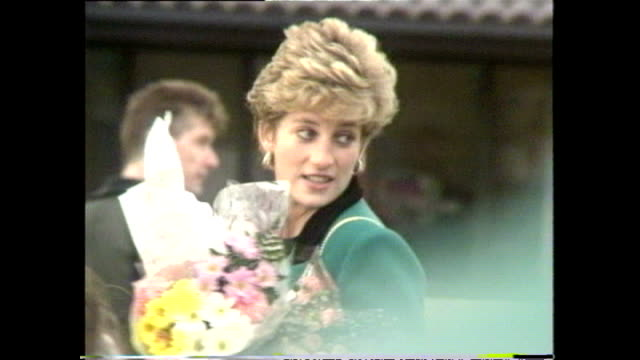 vídeos de stock, filmes e b-roll de exterior shots princess diana meeting members of public during her visit to ayrshire on 24 november 1992 in ayrshire scotland - 1992