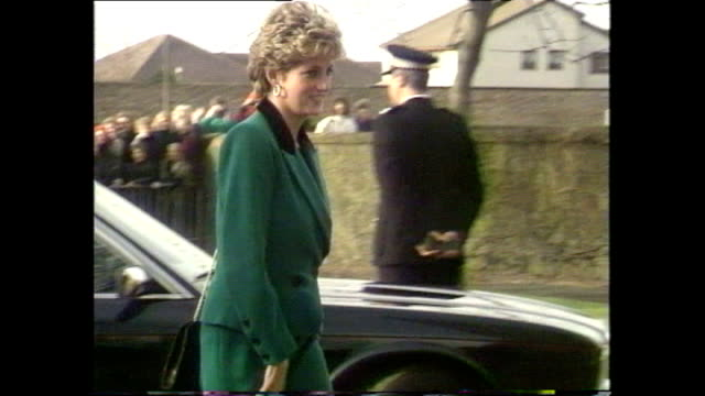 exterior shots princess diana meeting members of public during her visit to ayrshire on 24 november 1992 in ayrshire scotland - 1992 stock videos and b-roll footage