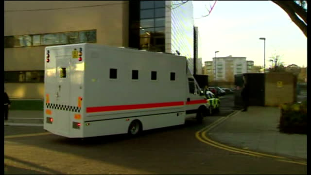 exterior shots prison van which is carrying ipswich serial killer steve wright drives through large metal gates into the ipswich crown court car park... - throttle stock videos & royalty-free footage