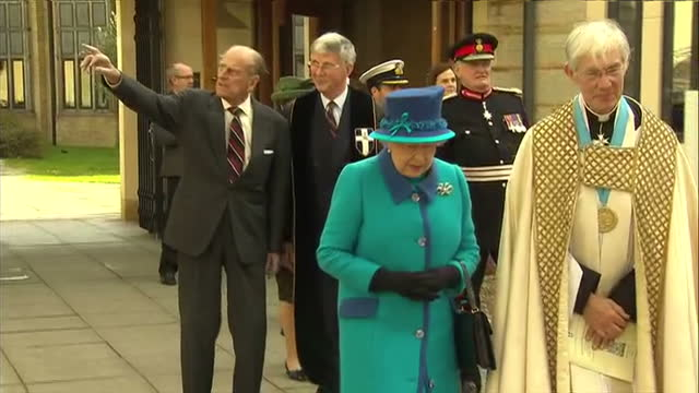 exterior shots queen elizabeth ii and prince philip, duke of edinburgh leaving canterbury cathedral with the very reverend dr robert willis, the dean... - canterbury cathedral stock videos & royalty-free footage
