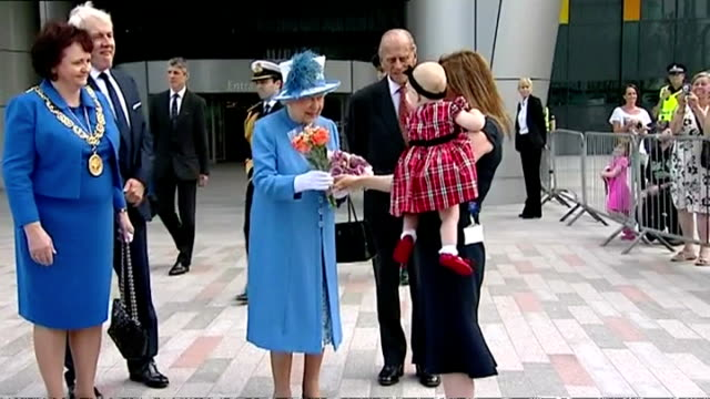 exterior shots queen elizabeth ii departing south glasgow university hospital after renaming it in her honour prince philip talking to mother outside... - elizabeth i of england stock videos & royalty-free footage