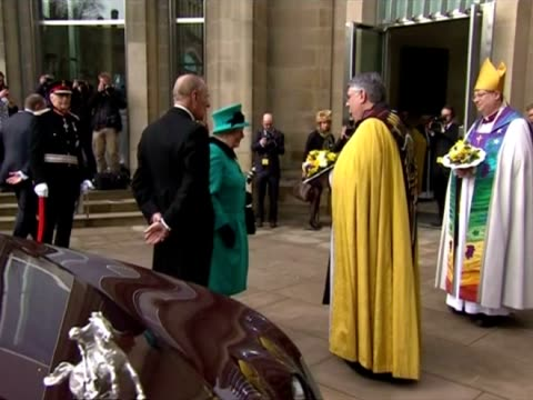 exterior shots queen elizabeth ii prince philip greet steven croft the bishop of sheffield and the dean of sheffield peter bradley outside sheffield... - elizabeth i of england stock videos & royalty-free footage
