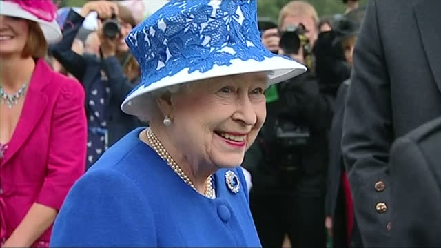Exterior shots Queen Elizabeth meets chats with various guests at a garden party in the grounds of Balmoral Castle in the final event to celebrate...