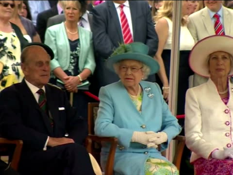 exterior shots queen elizabeth & prince philip, duke of edinburgh sat watching the thames diamond jubilee pageant at the henley regatta queen... - diamond jubilee stock videos & royalty-free footage