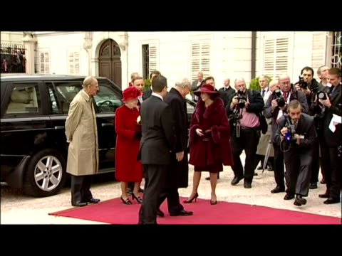 exterior shots queen prince philip arrive and are greeted by ivan gasparovic and wife syliva queen prince philip receive military welcome queen... - slovakia stock videos & royalty-free footage