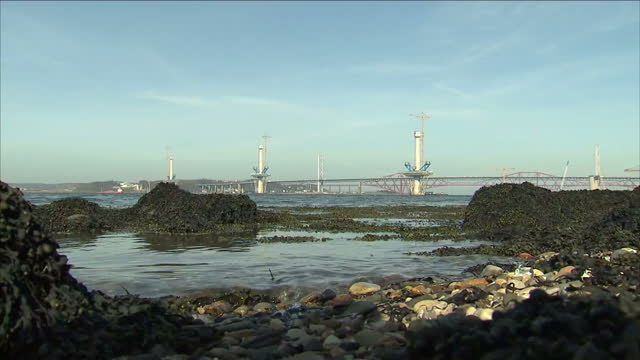 exterior shots queensferry crossing under construction figures amount of scottish who believe independence is likely exterior interview alistair... - vox populi stock videos and b-roll footage