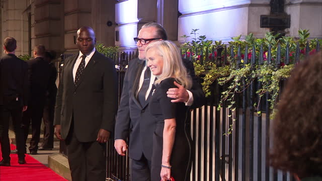 exterior shots ray winstone actor and elaine winstone wife posing for press photographers on the bfi fundraising gala red carpet ray winstone and... - ray winstone stock videos & royalty-free footage