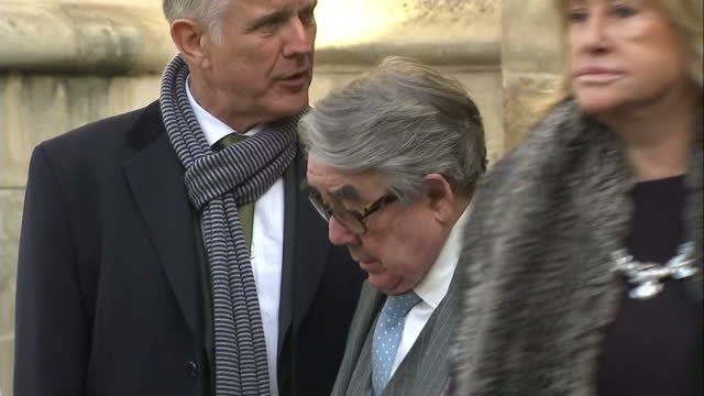exterior shots ronnie corbett talking with other guests at end of memorial service on march 13 2014 in london england - ronnie corbett stock videos & royalty-free footage