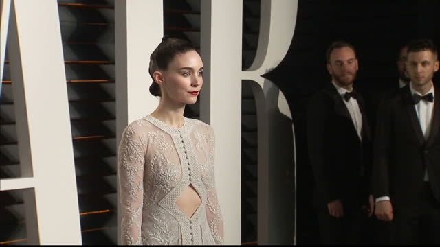 Exterior shots Rooney Mara actress on Vanity Fair red carpet posing for photographers on February 28 2016 in Hollywood California