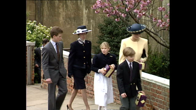 vídeos de stock, filmes e b-roll de clean exterior shots royal family leave chuch after easter service queen queen mother prince philip princess margaret princes harry william sarah... - 1992