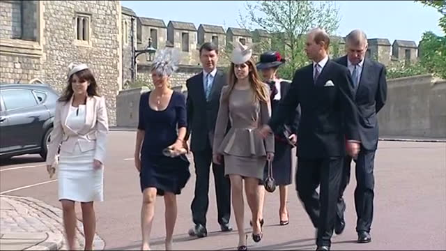 exterior shots royal family princess beatrice princess eugenie prince andrew duke of york prince edward sophie countess of wessex arriving at st... - public celebratory event stock videos & royalty-free footage