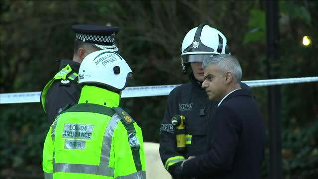 exterior shots sadiq khan, london mayor on visit to scene of croydon tram derailment, talking with emergency workers. on november 09, 2016 in... - croydon england stock videos & royalty-free footage