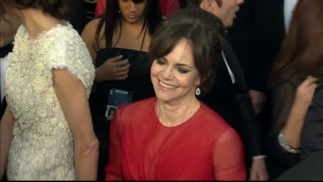 Exterior shots Sally Field chats to reporters on the red carpet Sally Field on the Red Carpet at Dolby Theatre on February 25 2013 in Hollywood...