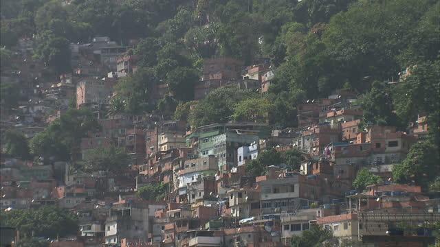 Exterior shots Sao Conrado subway station entrance favela housing and street scenes inside the favela on August 2 2016 in Rio de Janeiro Brazil