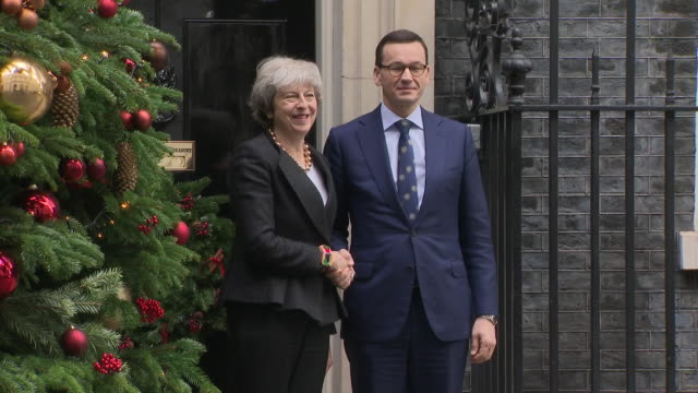 exterior shots showing polish prime minister mateusz morawiecki arriving at downing street and greeted by uk prime minister theresa may ahead of the... - prime minister of the united kingdom stock videos and b-roll footage