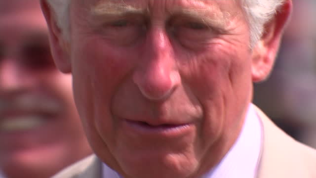 Exterior shots showing Prince Charles of Wales chatting to people at Passchendaele Memorial Park during day of commemorations marking the centenary...