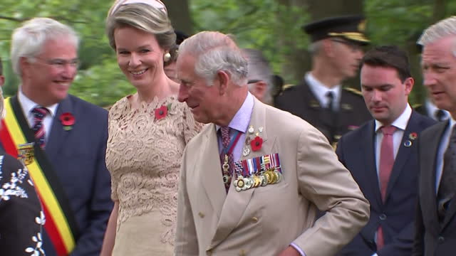 Exterior shots showing Prince Charles of Wales King Philippe of Belgium Queen Mathilde of Belgium and WestFlanders province governor Carl Decaluw...