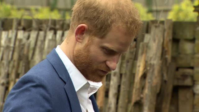 Exterior shots showing Prince Harry Duke of Sussex chatting to people and students after helping primary school children to plant a tree from the...