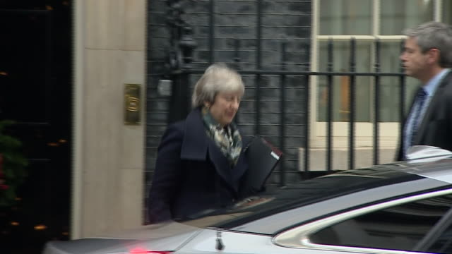 exterior shots showing uk prime minister theresa may departing 10 downing street by car on 17 december 2018 in london united kingdom - season 10 stock videos & royalty-free footage