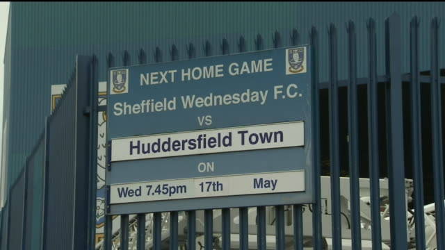 exterior shots sign announcing the next fixture between sheffield wednesday vs huddersfield at hillsborough stadium on 17th may 2017, sheffield,... - hillsborough stadium stock videos & royalty-free footage