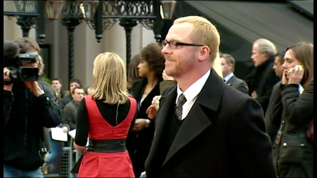 exterior shots simon pegg actor and comedian signing autographs and posing for photographs on the red carpet for the premiere of iron man at the... - simon pegg stock videos & royalty-free footage