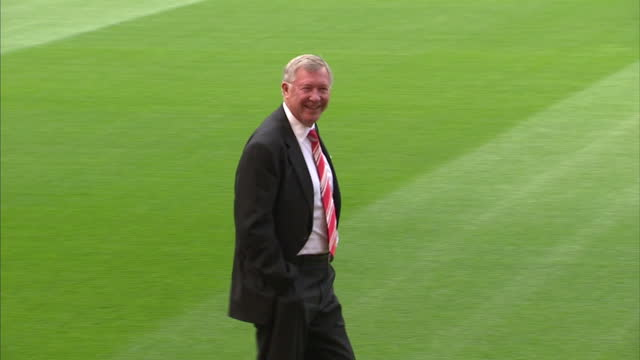 exterior shots sir alex ferguson talking with man at old trafford stadium, home of manchester united during fifa inspection visit for the england... - fifa world cup 2010 stock videos & royalty-free footage