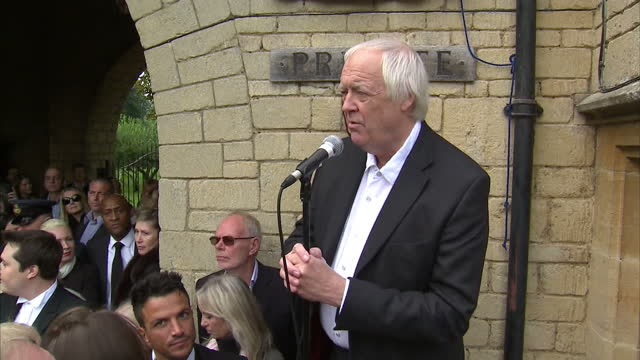 exterior shots sir tim rice says a few words at the unveiling of a plaque at the home of the late robin gibb tim rice speaks at robin gibb plaque... - tim rice stock videos and b-roll footage
