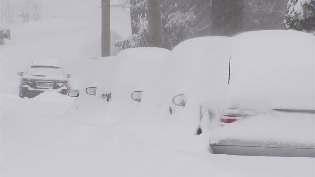 Exterior shots snow covered residential streets after Winter Storm Jonas hit the US East Coast with cars and houses buried in snow on January 23 2016...