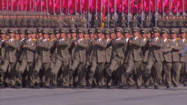 Exterior shots soldiers in military uniform marching in synchronisation at Workers Party 70th Anniversary Military Parade on October 11 2015 in...