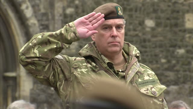 exterior shots soldiers marching in parade past prince andrew who wears fatigues from the yorkshire regiment & salutes them from a rostrum prince... - uniform stock videos & royalty-free footage