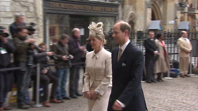 Exterior shots Sophie Countess of Wessex Prince Edward arrive at Westminster Abbey walking from car on March 10 2014 in London England