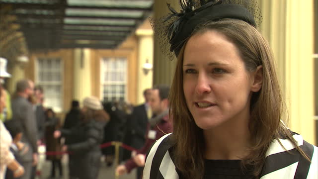 vídeos de stock e filmes b-roll de exterior shots sophie hosking, olympic gold medallist in lightweight women's double sculls, talks about her day at buckingham palace and her plans... - lightweight