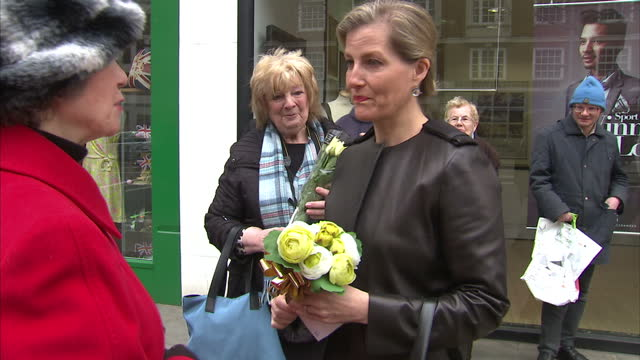 exterior shots sophie the countess of wessex at opening ceremony of geranium shop on march 15 2016 in london england - visual impairment bildbanksvideor och videomaterial från bakom kulisserna