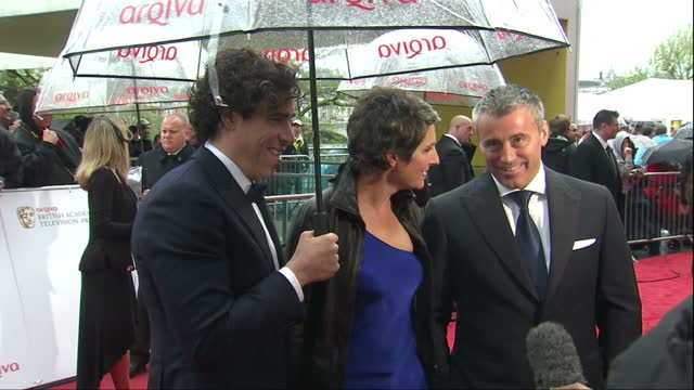 Exterior shots Stephen Mangan Tamsin Greig Matt Le Blanc from TV show 'Episodes' on red carpet talking to journalist Stephen Mangan Tamsin Greig Matt...