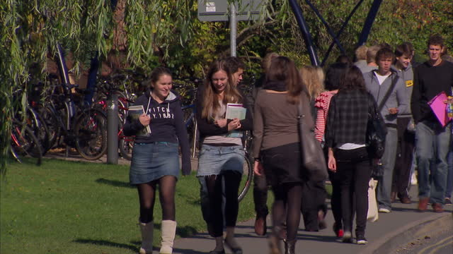 exterior shots students walking around sreatham campus at the university of exeter. interior shots students walk around library. students at... - exeter england stock videos & royalty-free footage
