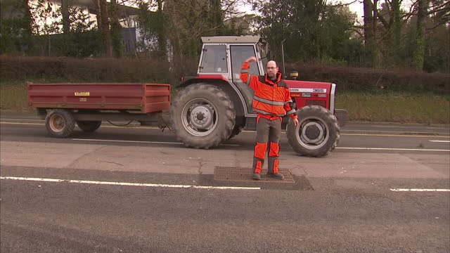 vídeos de stock, filmes e b-roll de exterior shots tall evergreen trees blown down by strong winds and partially blocking road on february 12 2014 in aberystwyth wales united kingdom - aberystwyth