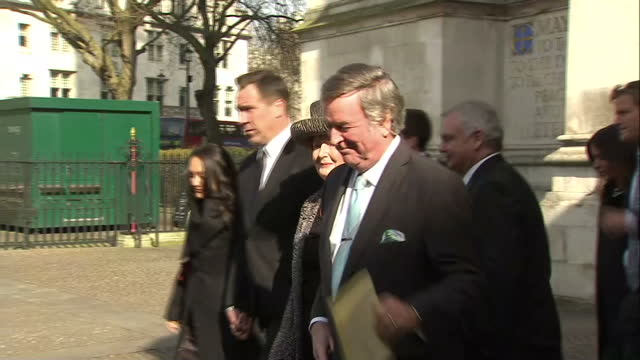 exterior shots terry wogan wife helen wogan depart memorial service on march 13 2014 in london england - terry wogan stock videos & royalty-free footage