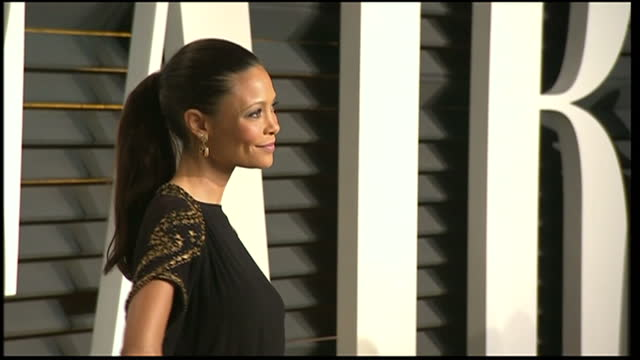exterior shots thandie newton arrives and poses on february 22 2015 in los angeles california - thandie newton stock videos & royalty-free footage