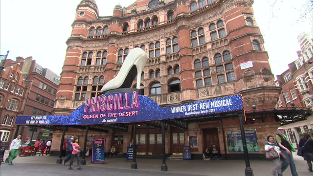 exterior shots the palace theatre in london's west end includes shots of advertising for the musical 'priscilla queen of the desert' the palace... - west end london stock videos and b-roll footage