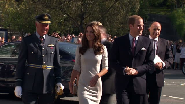 exterior shots the prince william catherine duchess of cambridge wearing beige pencil dress arrive to loud cheers from well wishers at the royal... - 公爵点の映像素材/bロール