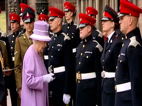 exterior shots the queen presents members of the royal mercian lancastrian yeomanry with afghanistan operational service medals at lichfield... - lichfield stock videos & royalty-free footage