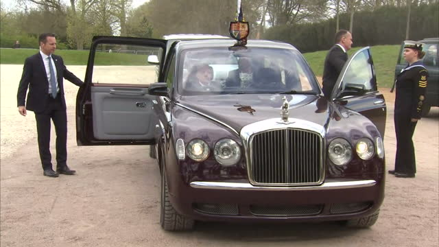 exterior shots the queen prince philip arrive in rolls royce get out to greet zoo officials on 11 april in dunstable united kingdom - rolls royce stock videos & royalty-free footage