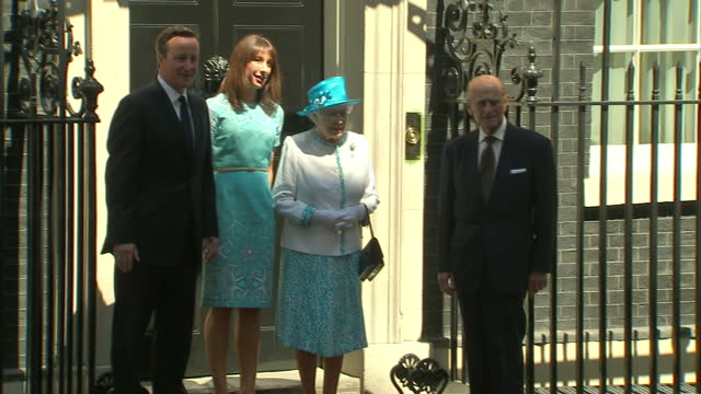 Exterior shots the Queen Prince Philip Duke of Edinburgh arrive at Downing Street greet David Samantha Cameron all pose for photo call in front of...