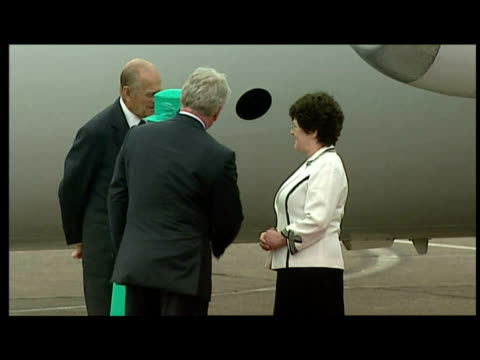 exterior shots the queen walks down steps of plane at baldonnel airport followed by prince philip greets officials before walking down red carpet... - visit stock videos & royalty-free footage
